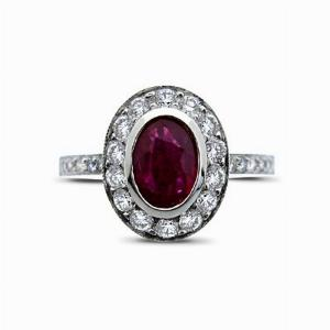 Oval Ruby & Diamond Cluster Ring - 0.70ct